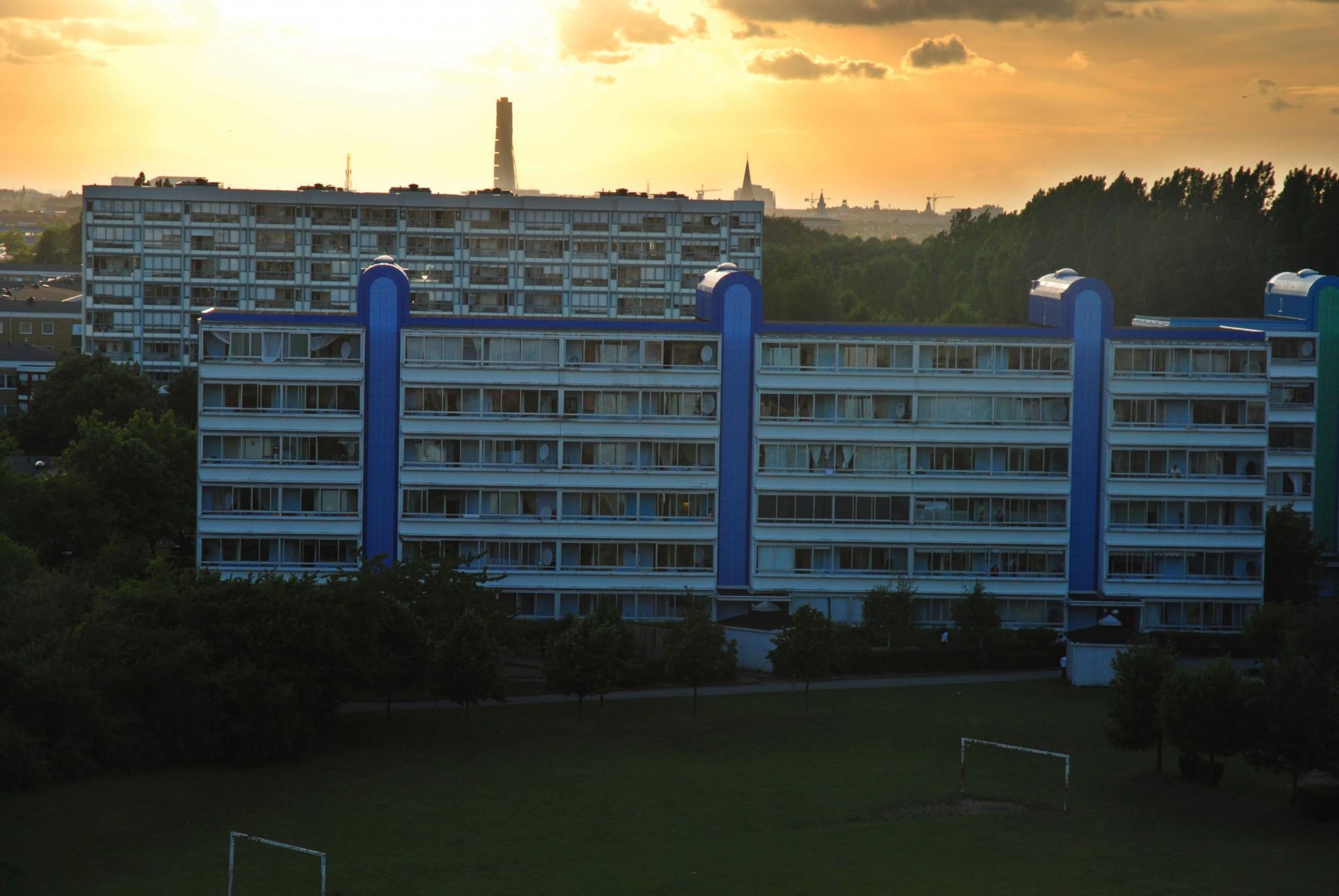 Solnedgång i Rosengård.