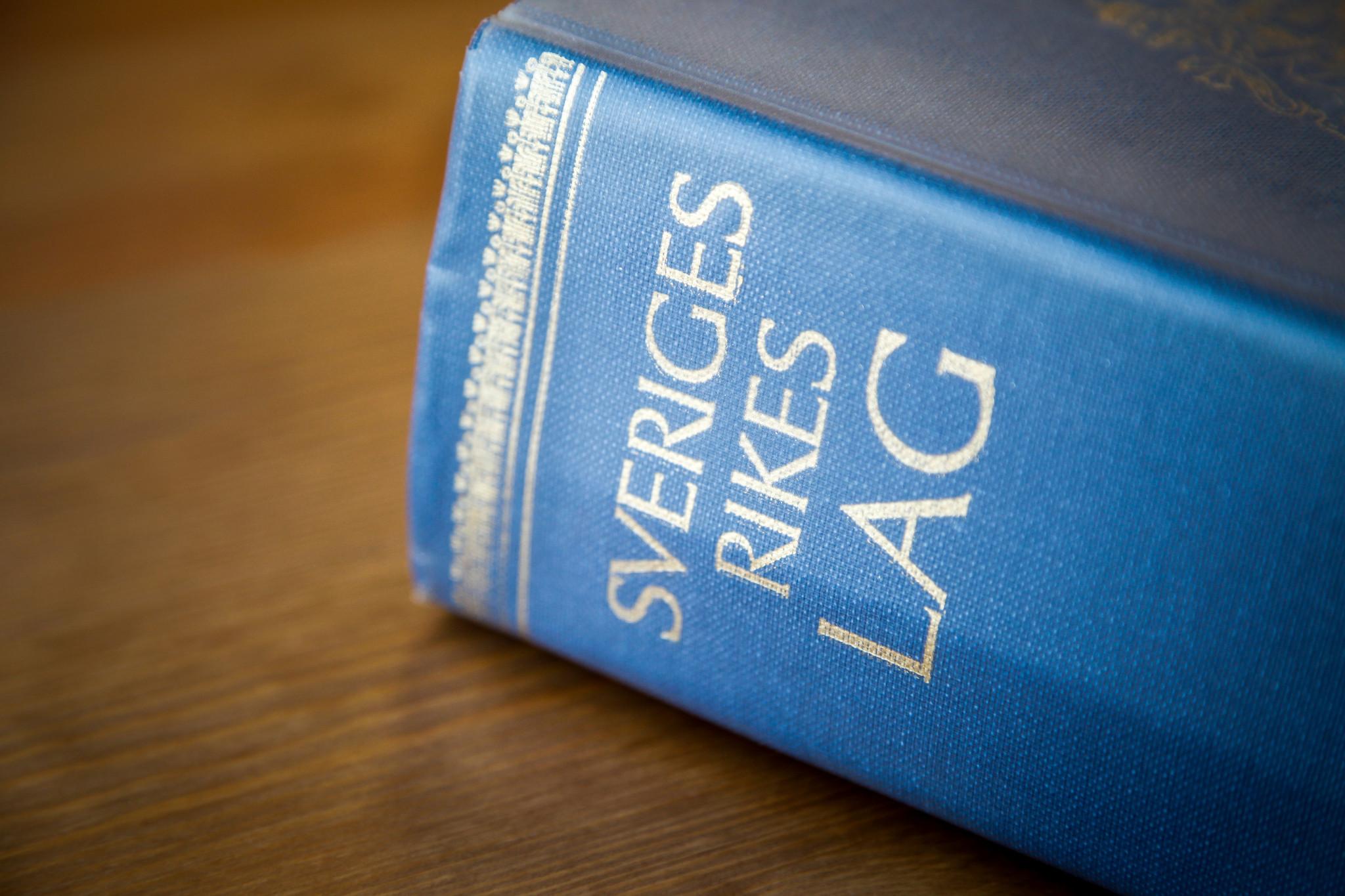 """Bild på Sveriges lagbok """"Sveriges rikes lag"""""""