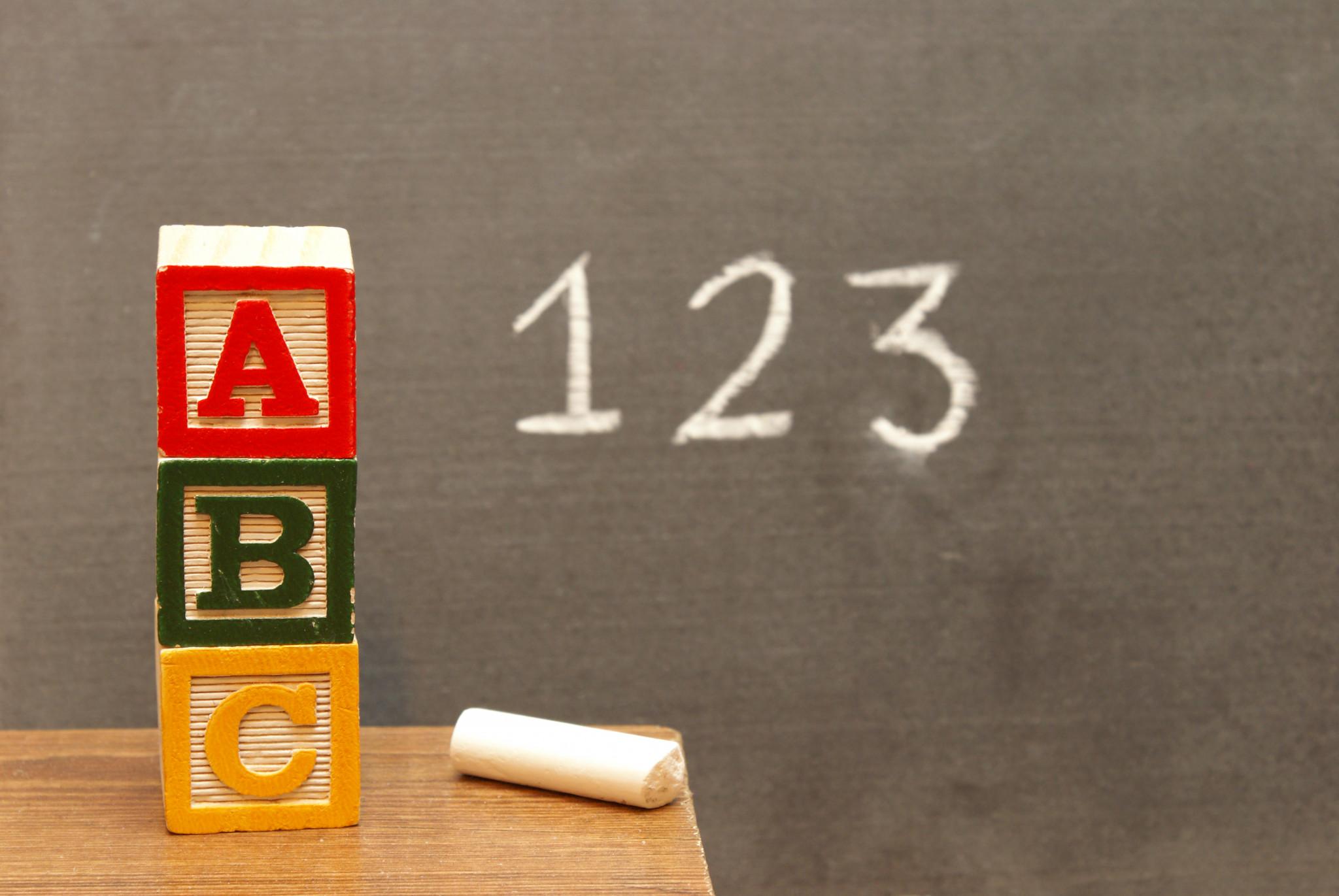 Alfabetiska block och siffror skriva på tavla för att illustra grundläggande kunskaper.