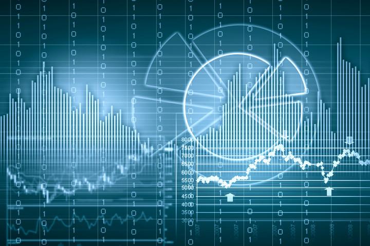 Illustration på ekonomisk utveckling på finansmarknaden